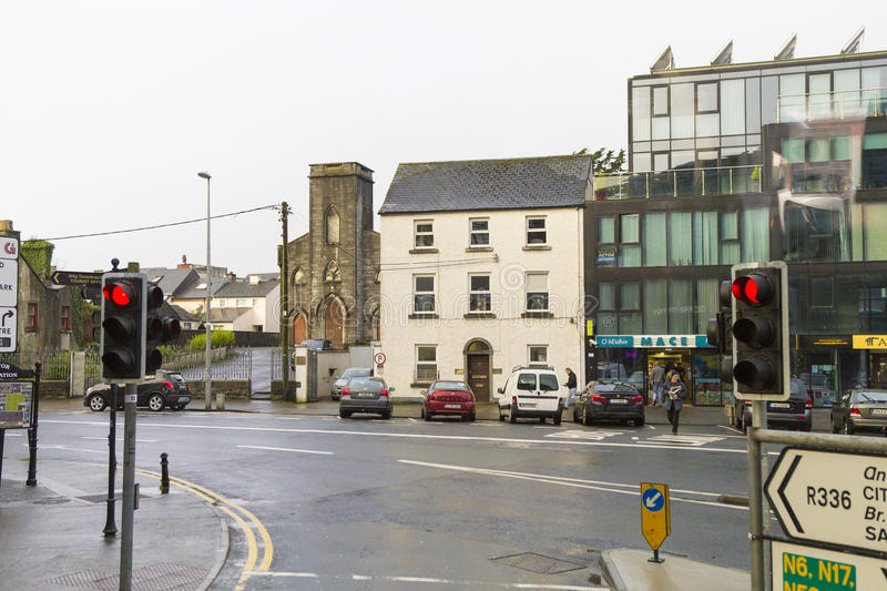 Galway street view. Holly day spirit on Galway, Ireland royalty free stock photo