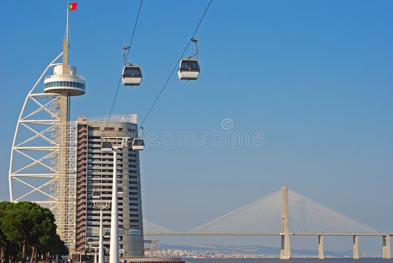 Gama του Vasco DA πύργος & γέφυρα με το ξενοδοχείο SANA μυριάδας και το τελεφερίκ κοντινή Λισσαβώνα
