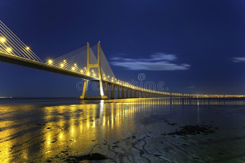 gama DA γεφυρών νύχτα Vasco στοκ εικόνα με δικαίωμα ελεύθερης χρήσης