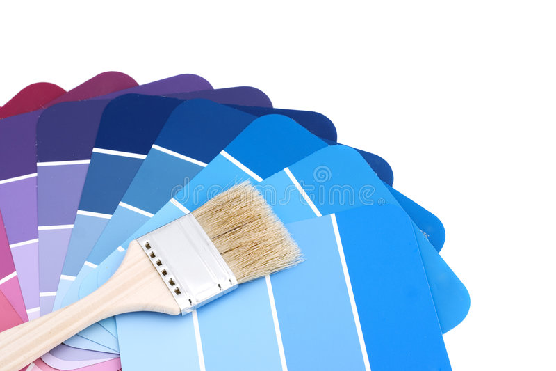 Gama de colores azul con el cepillo fotografía de archivo libre de regalías