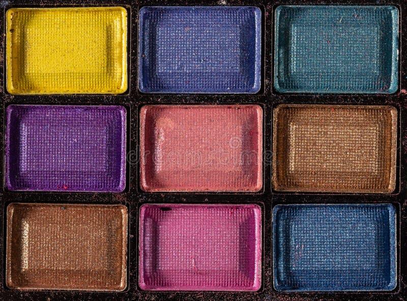 Gama de colores colorida de las sombras de ojo Fondo del maquillaje Cierre para arriba fotos de archivo libres de regalías