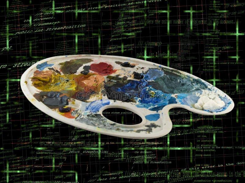 Gama de colores de la pintura de los artistas con código programado fotos de archivo