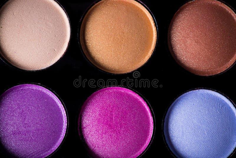 Gama de colores de las sombras de ojo coloridas fotografía de archivo libre de regalías
