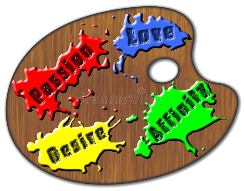 Gama de colores del amor ilustración del vector