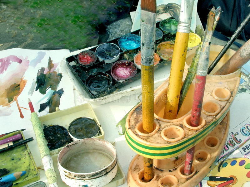 Gama de colores del pintor imagen de archivo