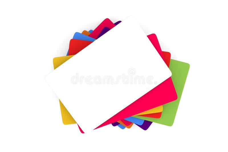 Gama de tarjeta del crédito en blanco o de templa coloreada del tamaño de la tarjeta de visita stock de ilustración