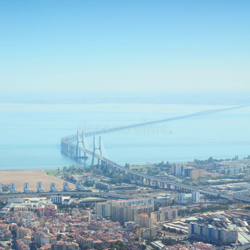Η Gama του Vasco DA γέφυρα είναι η μακρύτερη γέφυρα στην Ευρώπη Λισσαβώνα, η πρωτεύουσα της Πορτογαλίας στοκ φωτογραφίες με δικαίωμα ελεύθερης χρήσης