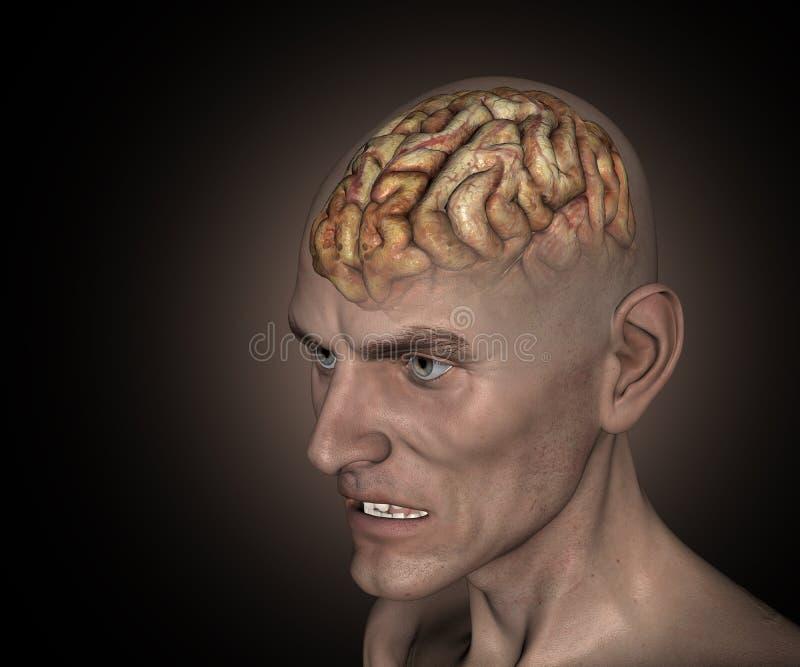 gamal man 3D med den sjuka hjärnan stock illustrationer