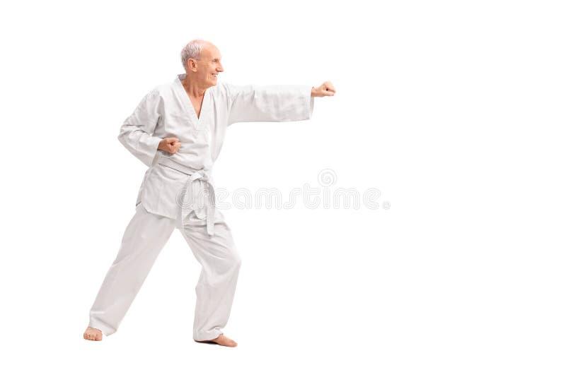 Gamal man i en praktiserande karate för vit kimono arkivfoto