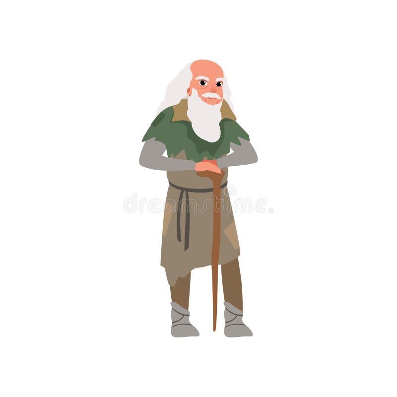 Gamal man i illustration för vektor för material för medeltida kläderwirh träpå en vit bakgrund royaltyfri illustrationer