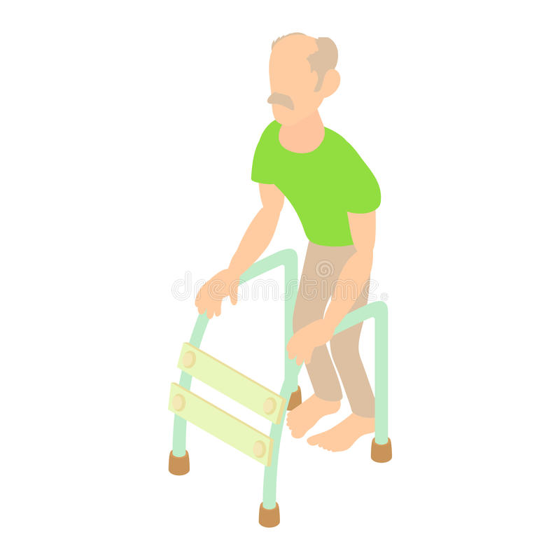 Gamal man med att gå ramsymbolen, tecknad filmstil stock illustrationer