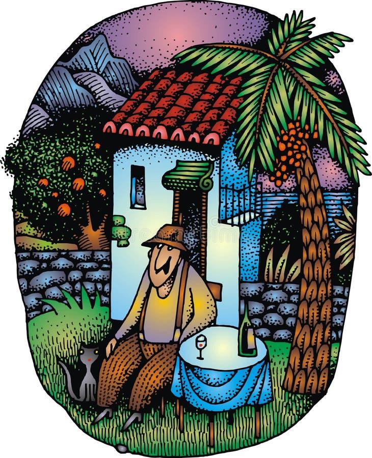 Gamal man och hans hus stock illustrationer