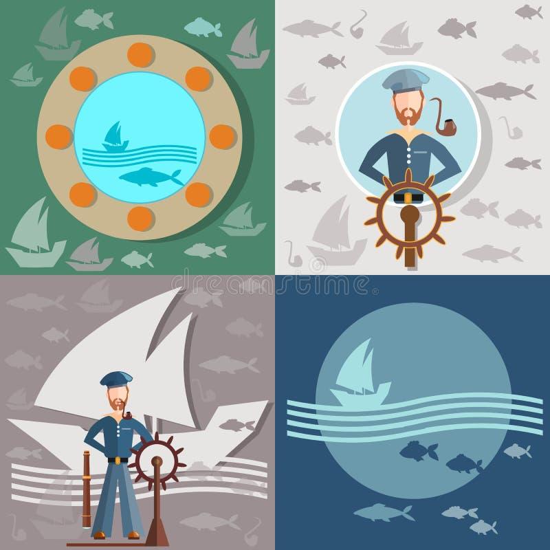 Gamal man och havet, sjöman, skepp som fiskar vektor illustrationer