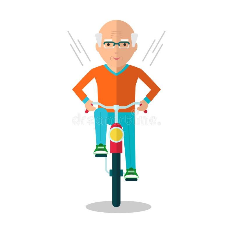 Gamal man på cykeln royaltyfri illustrationer