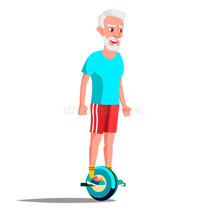 Gamal man på den Hoverboard vektorn Rida på gyroskopsparkcykeln En-hjul elektrisk Själv-balansera sparkcykel Positiv person stock illustrationer