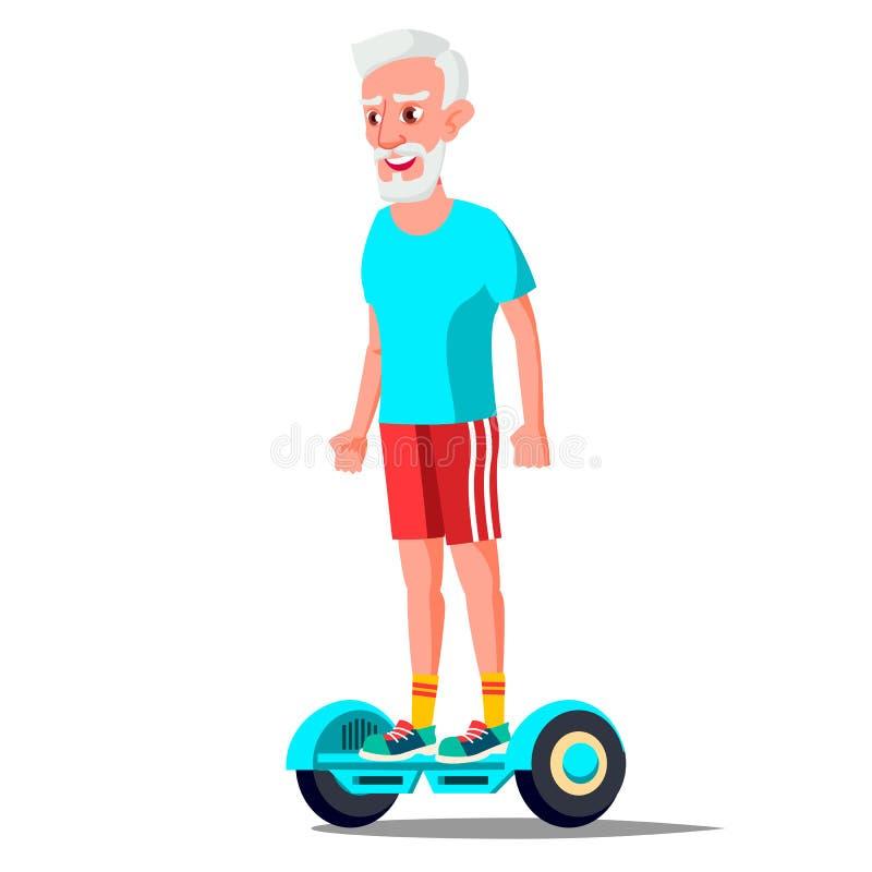 Gamal man på den Hoverboard vektorn Rida på gyroskopsparkcykeln utomhus- aktivitet Två-hjul elektrisk Själv-balansera sparkcykel vektor illustrationer
