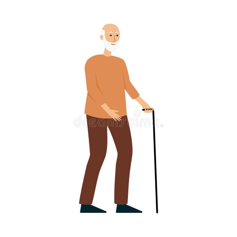 Gamal mananseende med en rotting, äldre manligt tecknad filmtecken som ler och går royaltyfri illustrationer