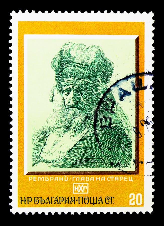 Gamal manhuvud, vid Rembrandt, målningserie, circa 1975 arkivfoton