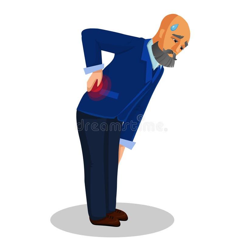 Gamal manlidande från tillbaka smärtar den plana illustrationen royaltyfri illustrationer
