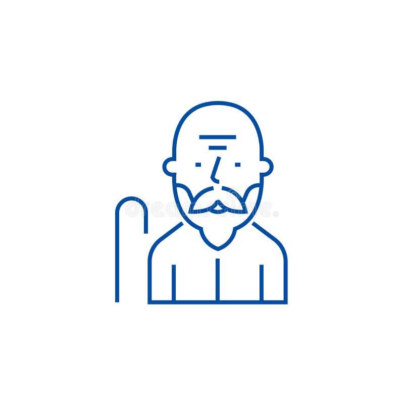 Gamal manlinje symbolsbegrepp Plant vektorsymbol för gamal man, tecken, översiktsillustration royaltyfri illustrationer