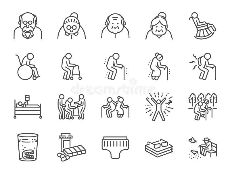 Gamal manlinje symbolsuppsättning Inklusive symboler som äldre folk, åldras, sunt, högt, liv och mer stock illustrationer
