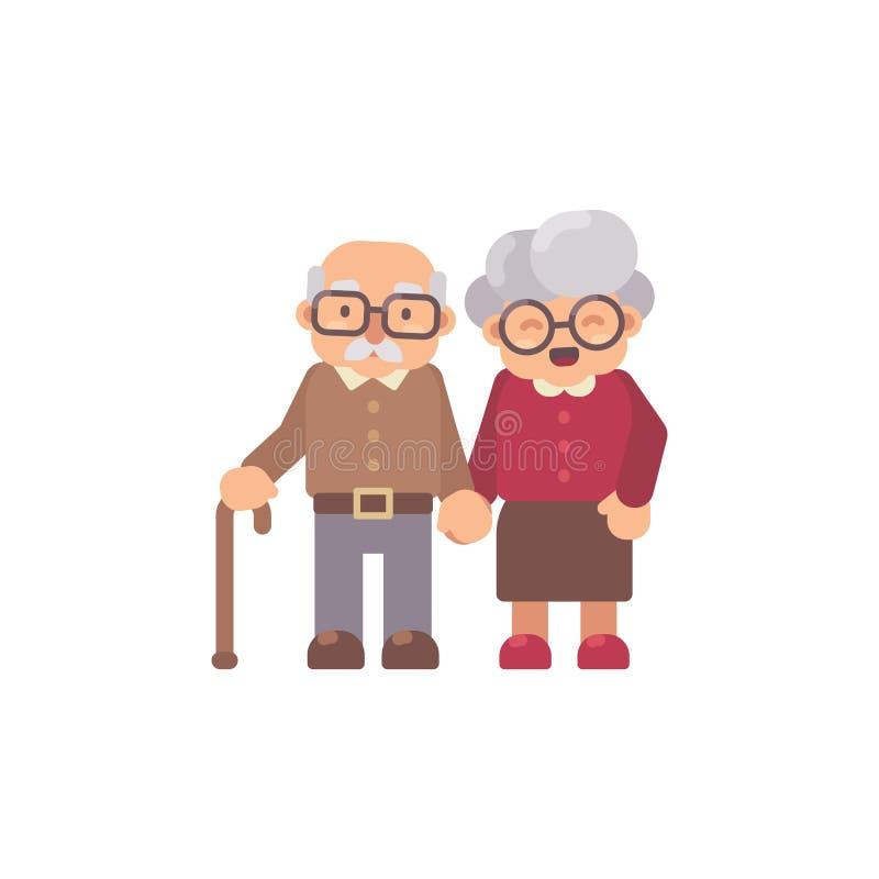 Gamala mannen och den gamla damen sänker tillsammans teckenillustrationen royaltyfri illustrationer