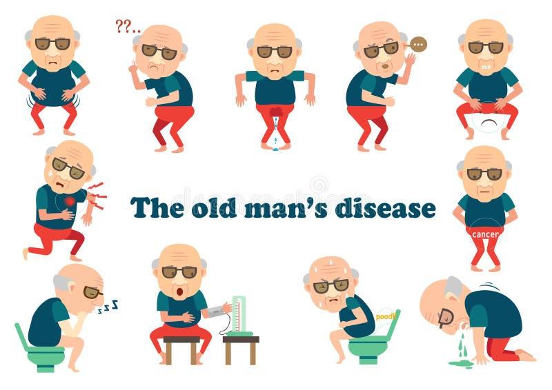 Gamala mannens sjukdom vektor illustrationer