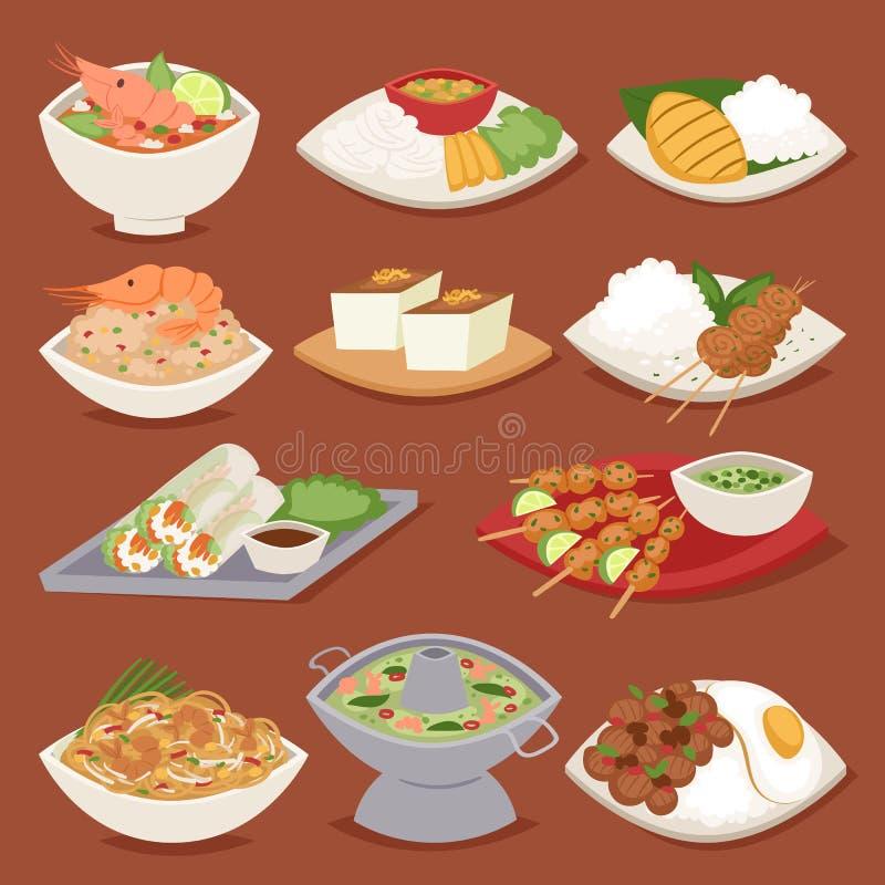 Gamba asiática de los mariscos de Tailandia de la cocina de la placa de la comida tailandesa tradicional que cocina el ejemplo de ilustración del vector
