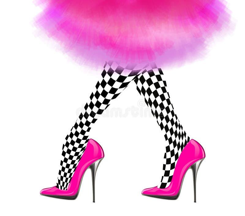 Gamba della donna con le scarpe rosa del tacco alto e la gonna d'annata royalty illustrazione gratis