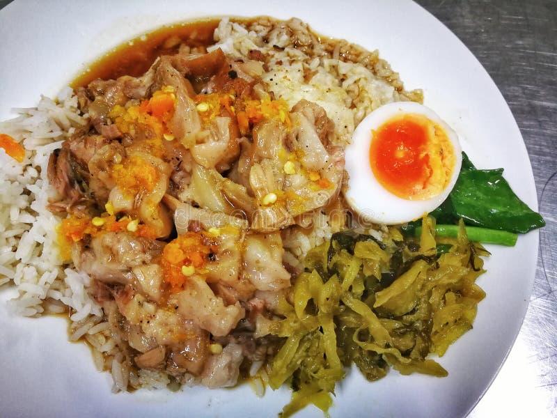 Gamba stufata della carne di maiale su riso nel menu dell'alimento della via della Tailandia immagine stock libera da diritti