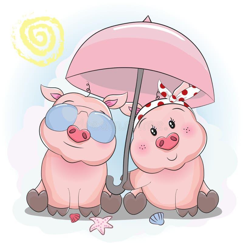 Cute piggy couple with umbrella and sun glasses in the beach vector illustration