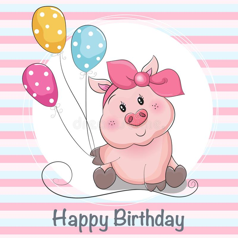 Greeting card cute cartoon piggy girl with ballons stock illustration