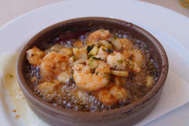 Gambas Al Ajillo - traditional spanish food stock image