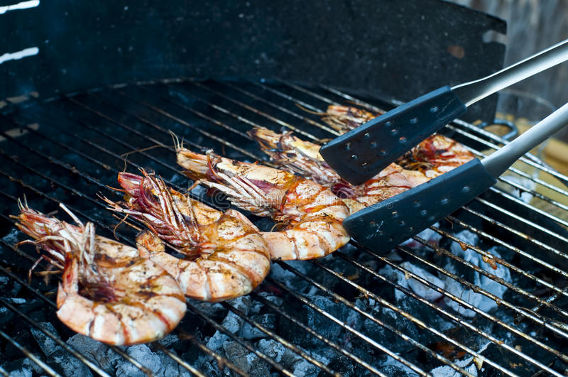 Gambas on barbecue stock photo image of prawn seafood - Marinade gambas grillees au barbecue ...