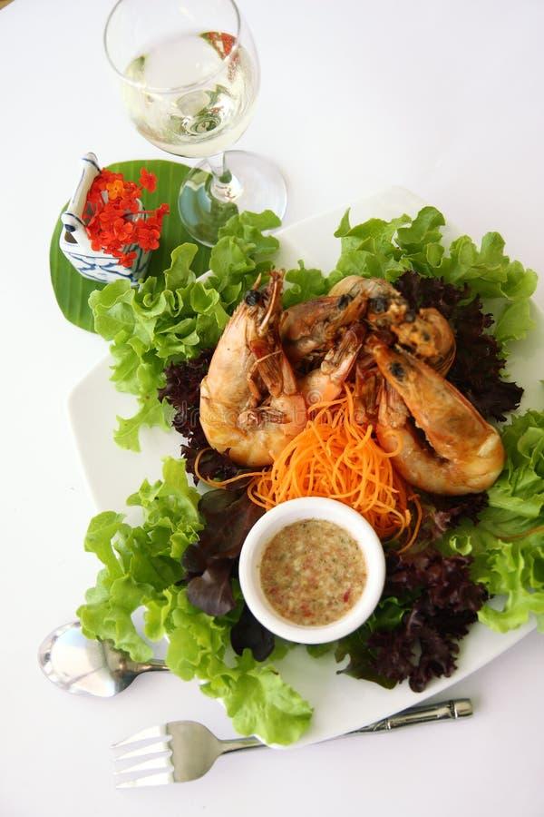 Gambas tailandesas del ajo de la comida fotos de archivo libres de regalías