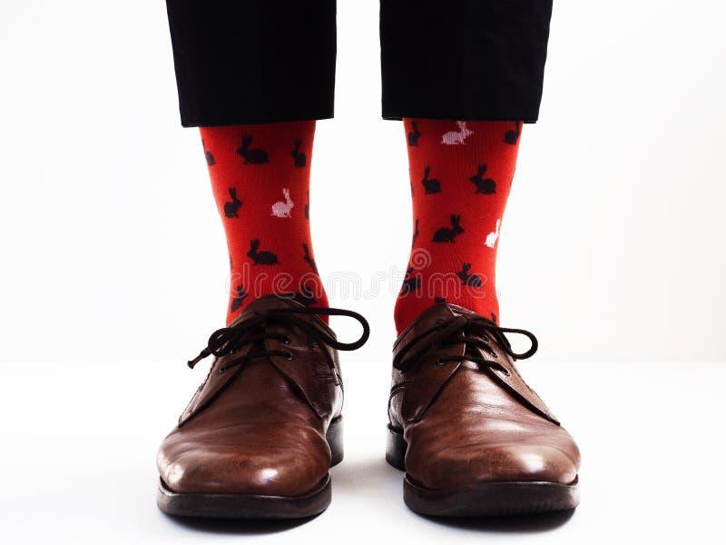 Gambe del ` s degli uomini in calzini luminosi e divertenti fotografie stock