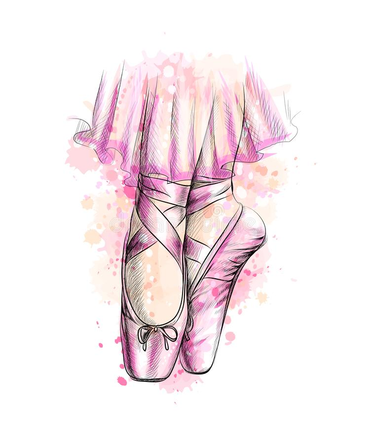 Gambe della ballerina in scarpe di balletto da una spruzzata dell'acquerello illustrazione vettoriale