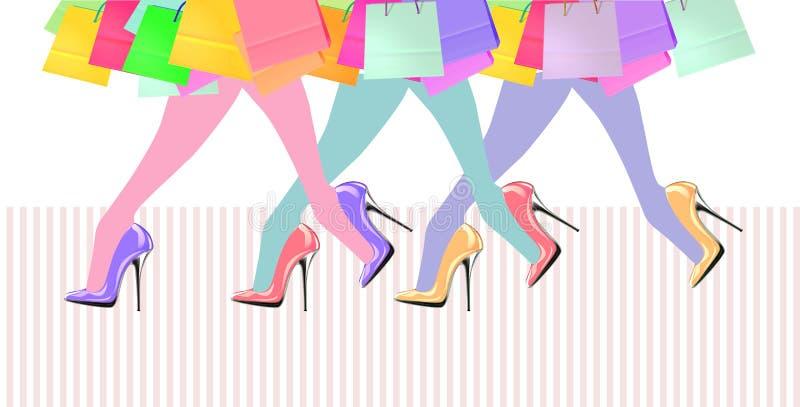Gambe della donna con le scarpe ed i sacchetti della spesa del tacco alto royalty illustrazione gratis