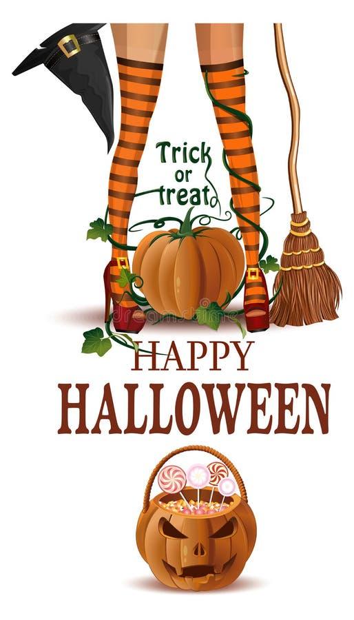 Gambe della strega del primo piano di Halloween in stivali e con il manico di scopa illustrazione di stock