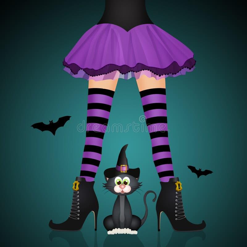 Gambe della strega e gatto nero per Halloween royalty illustrazione gratis