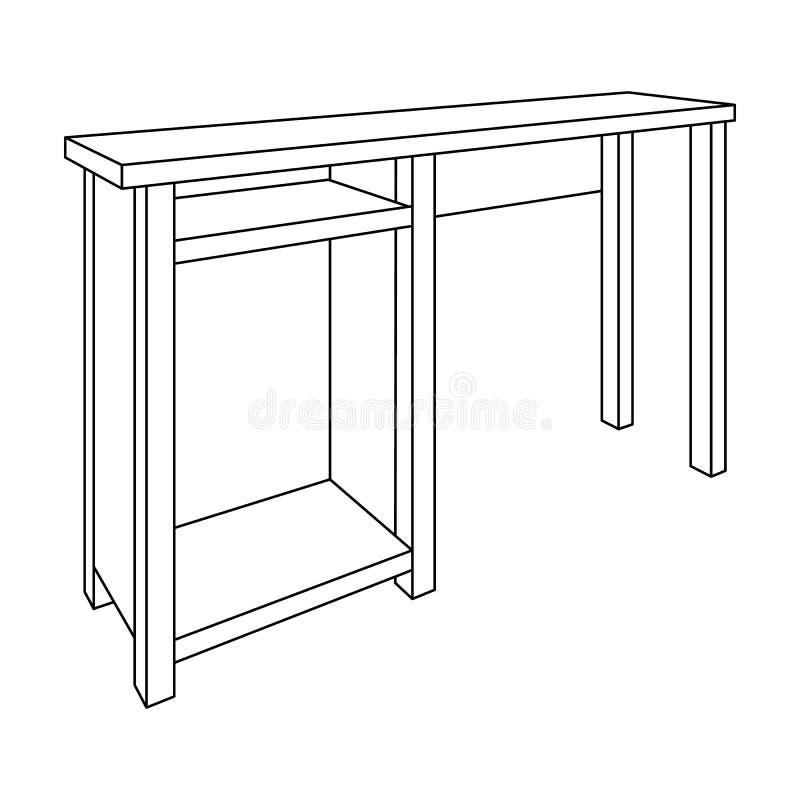 Gambe di legno della tavola Tabella per le immagini di disegno La Tabella con i cassetti schizza l'icona per infographic, il sito illustrazione vettoriale