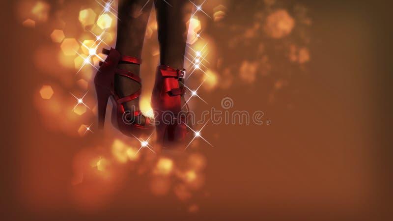 Gambe femminili che indossano le scarpe rosse immagini stock libere da diritti