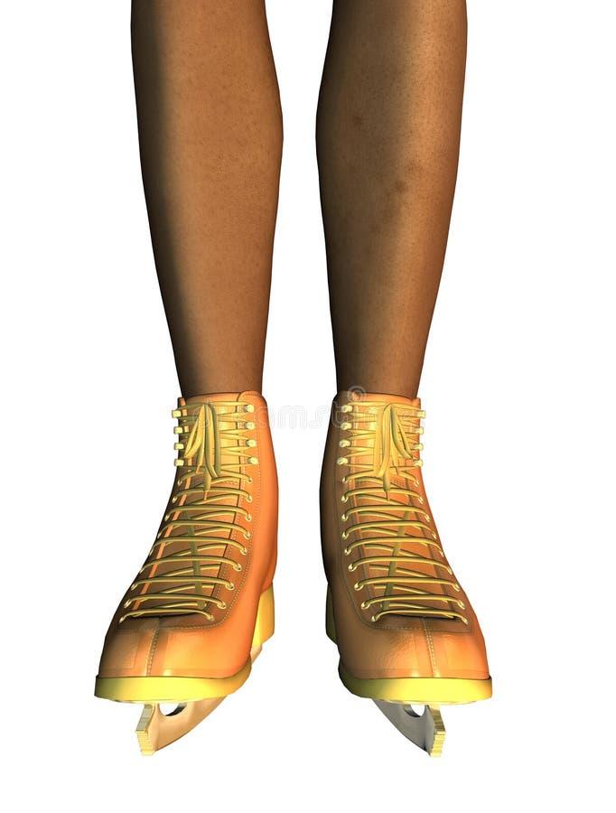 Gambe femminili nei pattini da ghiaccio dell'oro illustrazione di stock