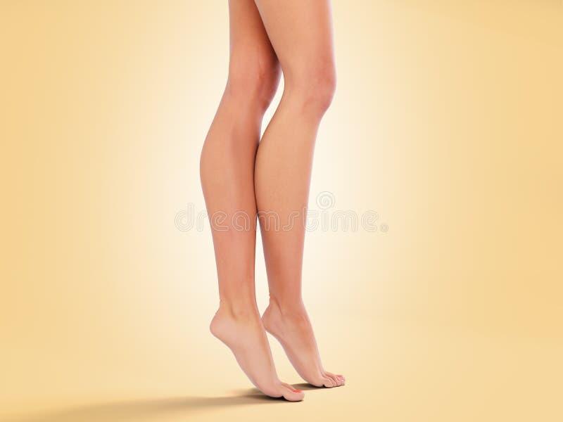 Gambe lunghe 3d della donna di beautifyl rendere sulla pendenza di colore illustrazione vettoriale