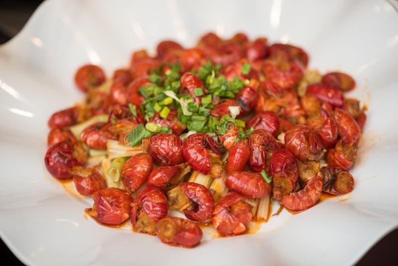 Gamberetti con il piatto cinese vegetali fotografia stock libera da diritti