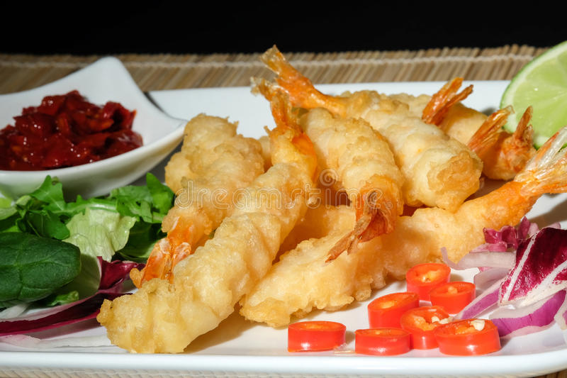 Gamberetti della tempura fotografie stock libere da diritti