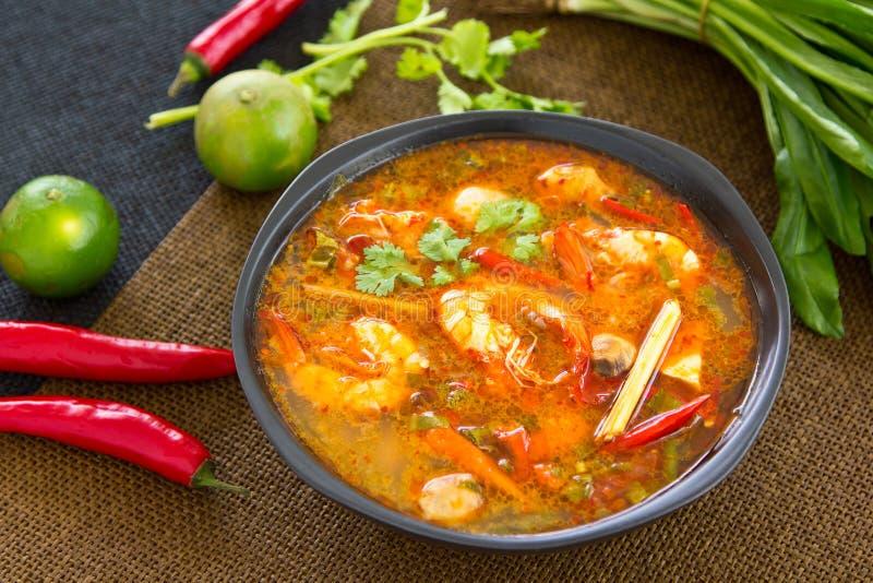 Gamberetto acido e piccante della minestra [kung tailandese di Tomyum] immagini stock libere da diritti