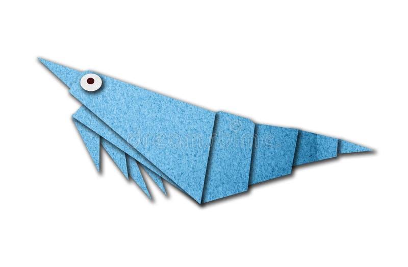 Gambero di Origami fatto di documento illustrazione di stock