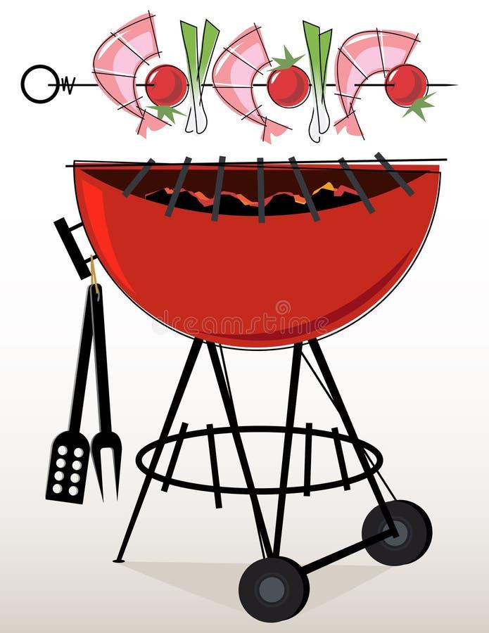 gambero Kebabs del BBQ di Retro-stile royalty illustrazione gratis