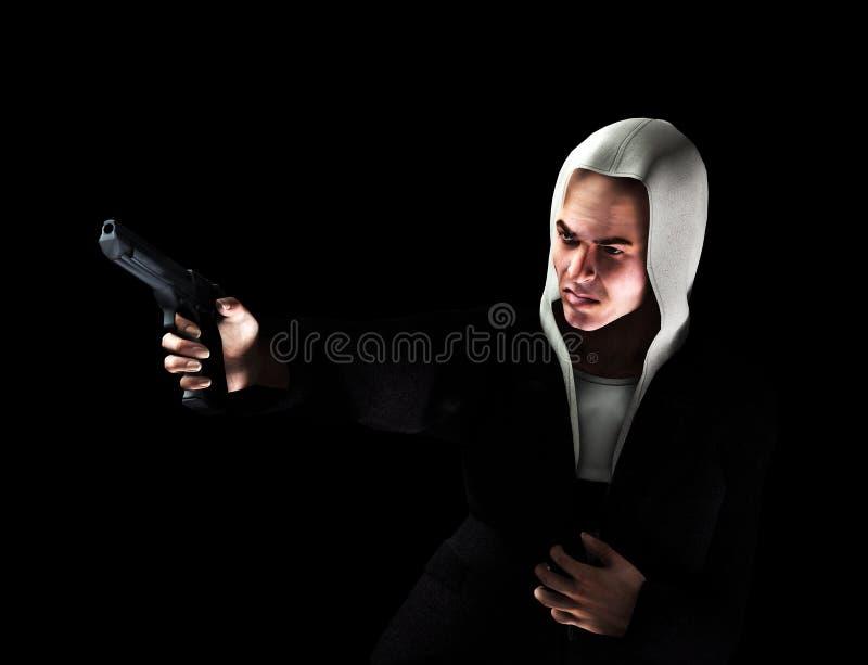 Gamberro con el arma 2 stock de ilustración